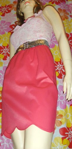 SEXY 60s MOD ELECTRO NEON Pink VF Satin Slip Skirt S pinup glam