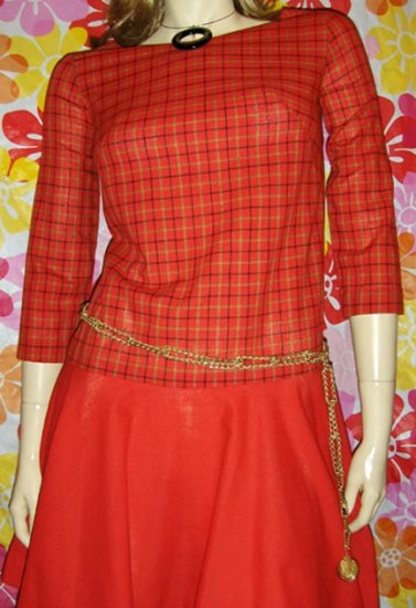 SWANKY SCHOOLGIRL 70's Plaid Vintage Shift Dress S. mod lolita