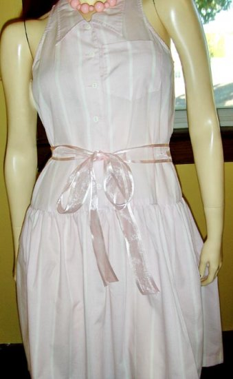 RETRO ROCKIN 50s Style Pink Candy Stripe SWING Skirt Dress S/M