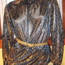 Liquid GOLD Speckled Artsy 80s DISCO PARTY Blouse SZ 14