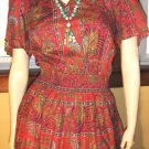 DIANE FREIS vintage 80s boho hippie Ruffle Prairie DESIGNER DRESS M/L