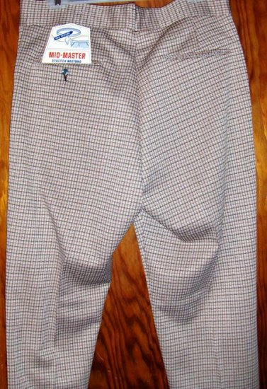 70s NERD BOY GEEKY Plaid Polyester Mens Dress Pants 36 MINT NOS