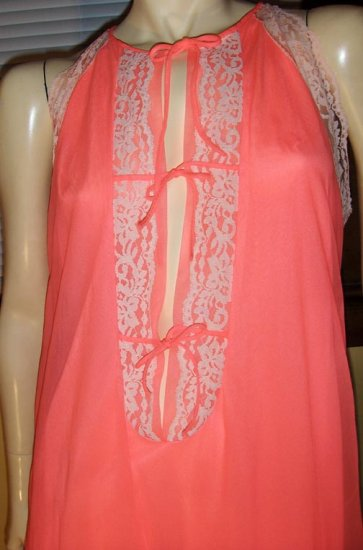 MOD 60s SEX KITTEN Neon PINK Frilly Lace DBL NYLON Bowtie Babydoll Nightgown L