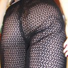 70s VINTAGE VIXEN Wicked Jet Black Sheer Crochet Peek-a boo Pants M.