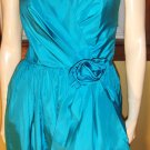 70s Glamour Girl Teal Blue Full Sweep Formal Gown Party Dress XS