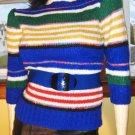 vintage 80s JORDACHE PUFF SLV Striped Designer Sweater MINT S.