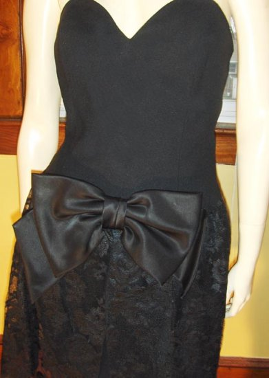Vintage 80s MOD LOLITA BIG BOW Black Lace Party Mini Dress Sz 12