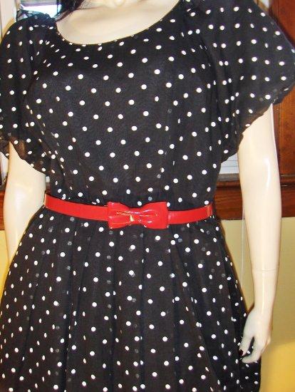 RETRO ROCKIN Vintage 50s Style Puff Slv Polka Dot Circle Skirt Swing Dress M.