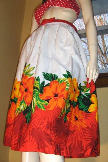 Vintage 70s PINUP Hawaiian Hula Girl Hibiscus Border Print Skirt L.