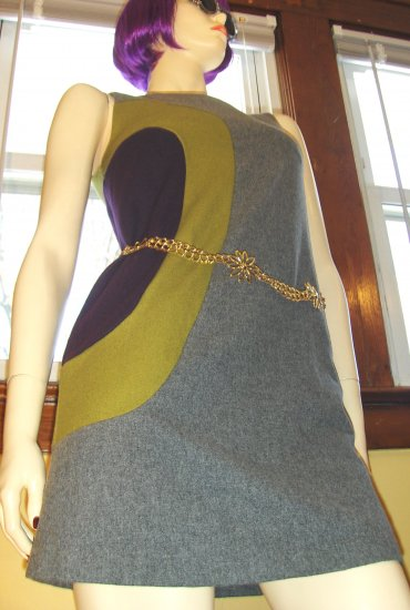 MOD 60s Atomic Retro Style Colorblock Go Go Mini Dress S.
