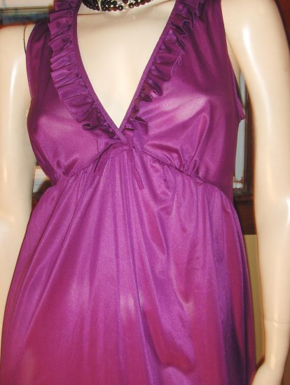 70s Girly Glam Frilly Ruffle Deep V Gown Slipdress S.