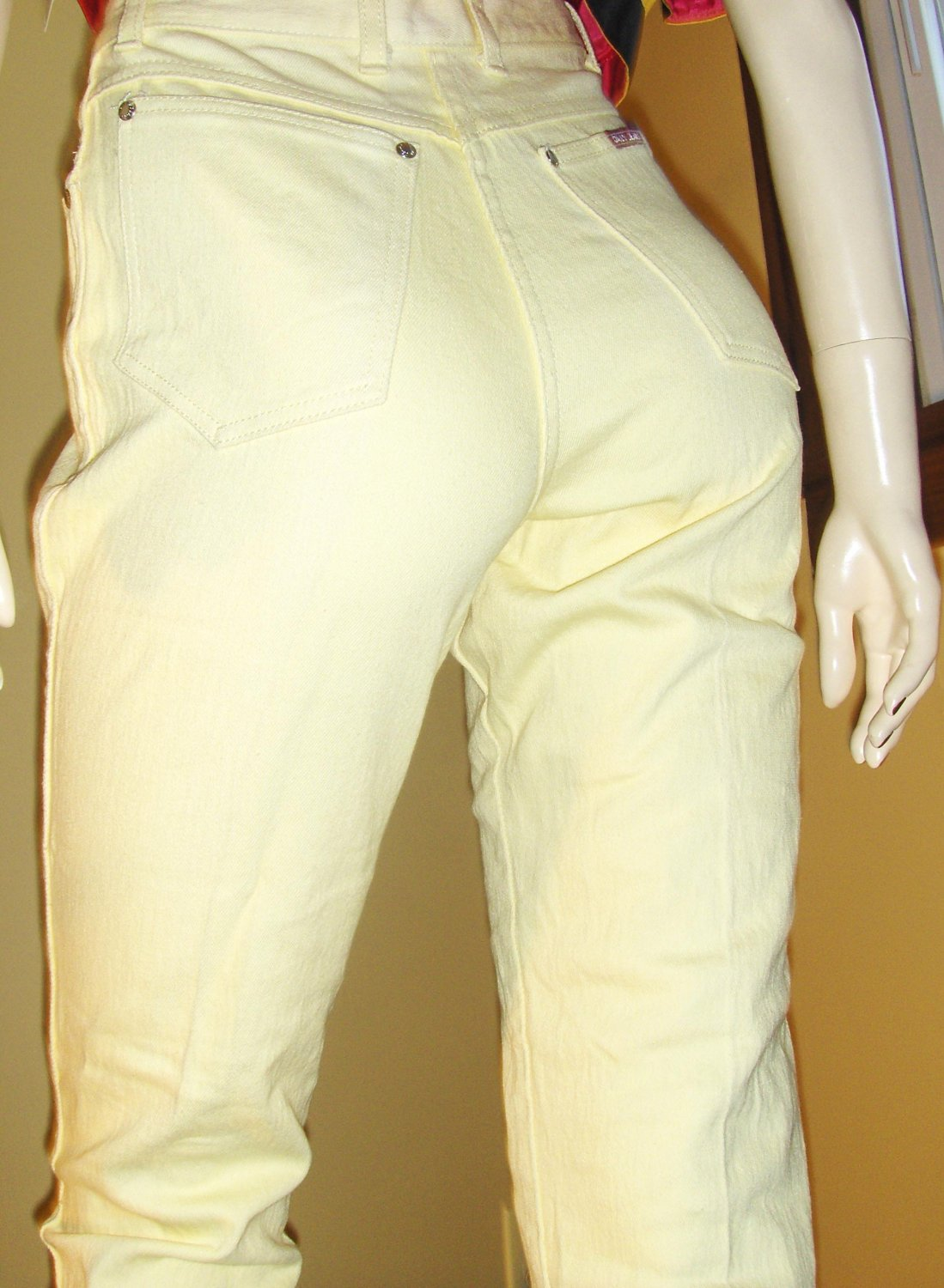 Vintage 80s Hipster High Waisted Skinny Denim DISCO Jeans mellow yellow S/M