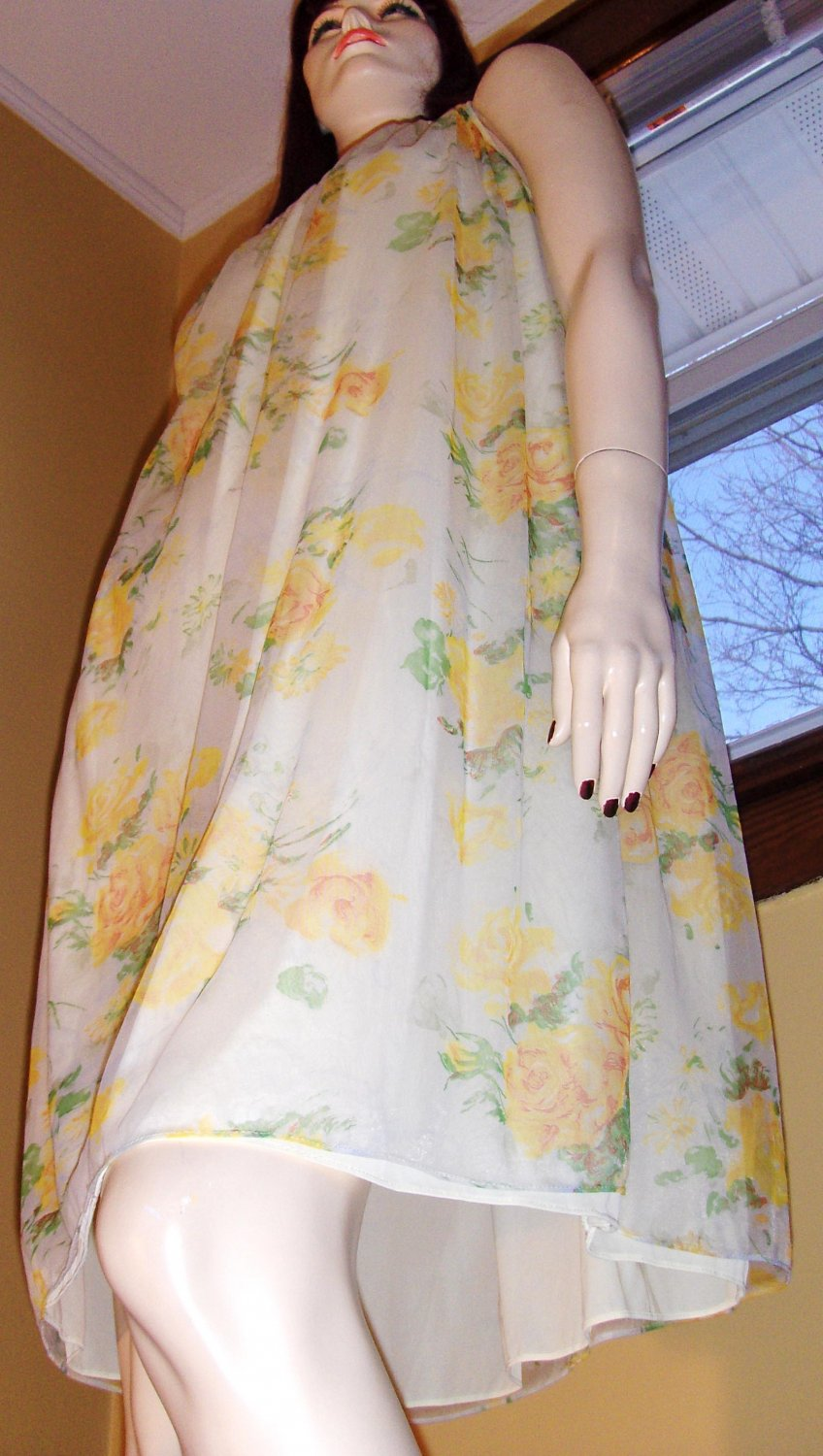 60s Double Nylon Sheer Floral Chiffon Nightgown