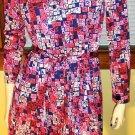 GET GROOVY Geometric Print Vintage 70s Shirtdress M/L