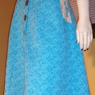 MOD Vintage 70s High Waisted Blue Buttondown Aline Skirt MINT