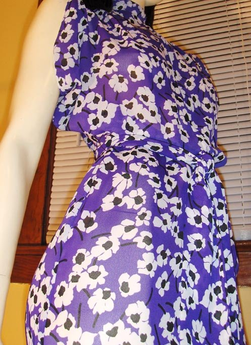 Flirty Floral Purple Poppy Print Flutter Slv Boho 70s Dress XS