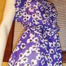 Flirty Floral Purple Poppy Print Flutter Slv Boho 70s Dress XS