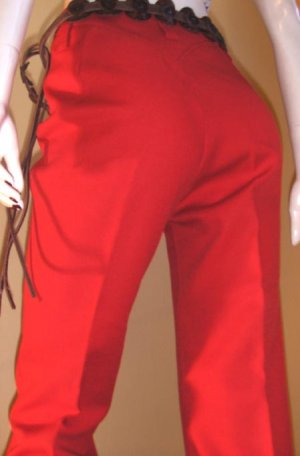 Vintage 70s H BAR C Tomboy Country Western Cherry Red Cowgirl Ranchwear Pants S/M rockabilly