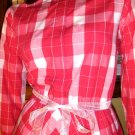 RETRO Rockabilly 50s Style Pink Gingham Circle Skirt SWING DRESS Sz. 12