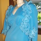 70s Girly Glam Bodacious Blue Maxi Party Dress w/ Frilly Ruffle Jacket 2 Piece Set M/L