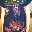 70s Boho Hippie Girl BLUE MEXICAN HAND EMBROIDERED Flutter Slv Tunic Dress