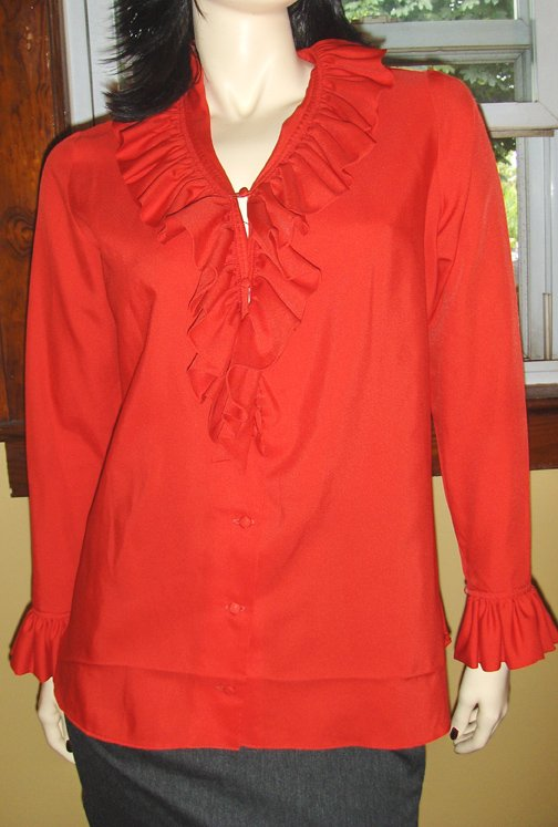 Sexy Secretary Vintage 70s Retro Red Ruffle Blouse L XL Saks Fifth Ave