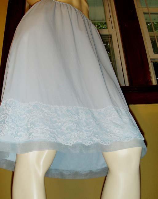 Vintage 50s 60s Baby Blue Nylon Tricot Lacy Hem Half Slip 2X