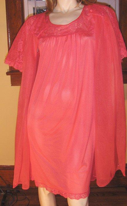 Vintage 60s Babydoll Nightgown Double Nylon Peignoir Robe Set LORRAINE