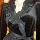 Gothic Avant Garde Victorian Style Black Ruffle Party Dress MINT NWT vintage 70s glam