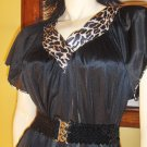 Vanity Fair 70s Leopard Trim Flutter Sleeves Dress M/L vintage glam