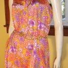 60s MOD LOLITA Ultra Girly Flower Power Mini Dress M/L groovy glam