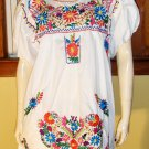 70s Boho Hippie Girl MEXICAN HAND EMBROIDERED White Puff Slv Tunic Dress L/XL