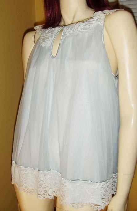 Vintage 60s Baby Blue Frilly Lace Dbl Nylon Babydoll