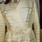 MOD 60s Glamour Girl Ivory Silver Shimmer Cocktail Party Coat Mini Dress Saks Fifth Ave S/M