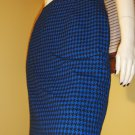Vintage 80s Designer Christian Dior Blue Wool Houndstooth Pencil Skirt Sz. 10