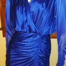 80s Diva Ruched Formfit Ultimate Sexy Glam Sapphire Blue Party Dress 7/8 S.