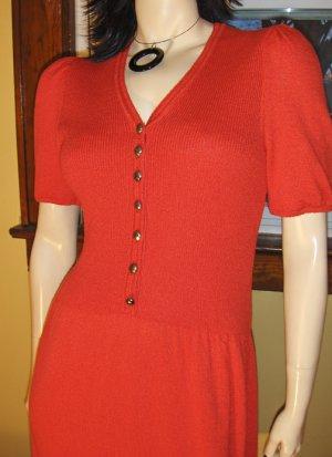 Sassy 70s Retro Red Puff Slv Pin Up Lolita Dress M.