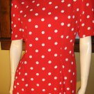 RETRO ROCKIN LUCY 50s Style Red Polka Dot Pin Up Party Dress Sz. 12