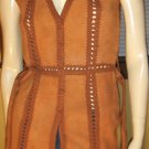 Boho Babe Vintage 70s Tan Suede Hippie Girl Belted Tunic Vest S. MINT NOS