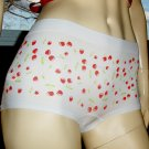 Pin Up Rockabilly Cutie Cherry Print Boy Short Hipster Panty BONGO NEW M.