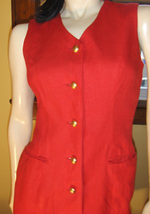 80s Vamp Sexy Red Formfit Buttondown Pencil Dress Sz. 4