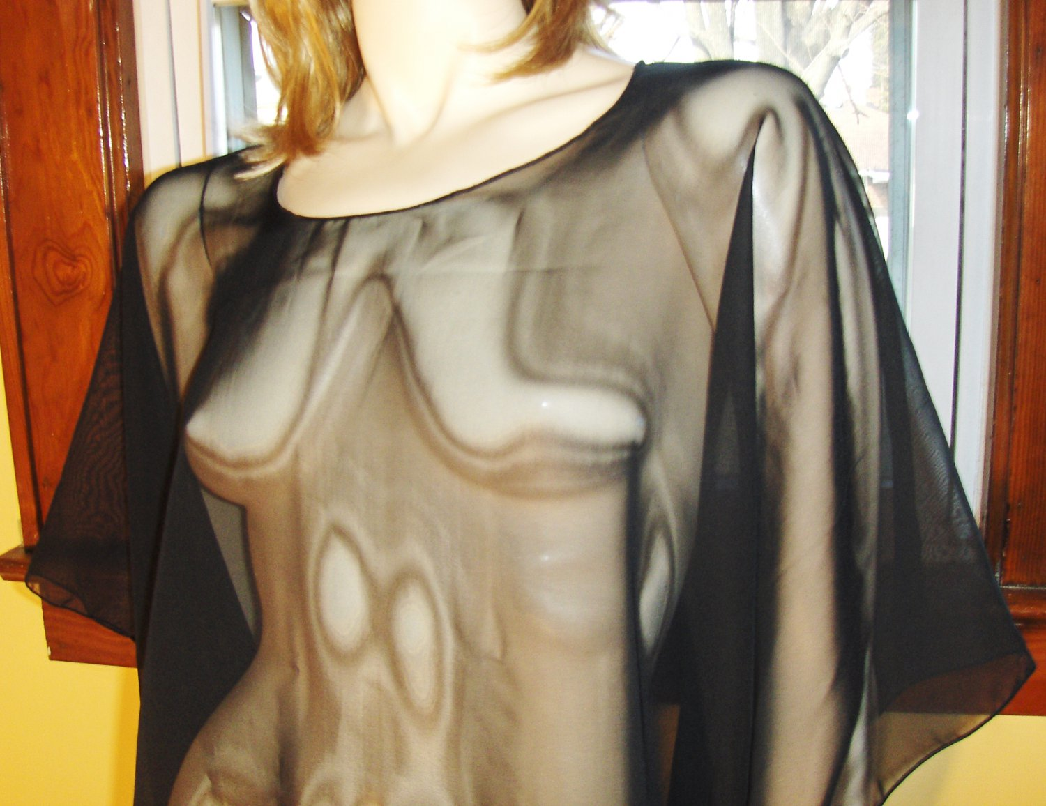 WICKED VAMP Sheerest Black Chiffon Cape Shawl Poncho ~One Size Fits All