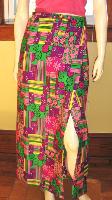 Get Groovy Vintage 60s Psychedelic Neon Flower Power Maxi Wrap Skirt S