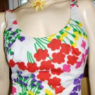 70s Boho Beach Babe Flirty Floral Vintage Pin Up One Piece Swimsuit Bathing Suit 16/38