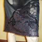 Vintage 50s Pinup Wickedly Sexy Sheer Black Nylon Embroidered Lacy Hem Half Slip M.