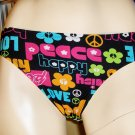 Retro Style Groovy Key Words PEACE LOVE Swimsuit Bikini Bottoms XS MINT NWT