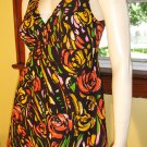 Vintage Pinup Beach Babe One Piece Floral Bathing Suit Swimsuit Swimdress 60s 70s M.