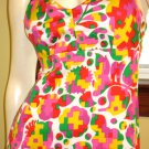 Trippiest MOD Psychedelic Neon Halter Maxi Dress vintage 60s 70s S.