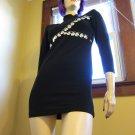 Vintage 80s Rocker Chick Silver Studs Black Lycra Micro Minidress S.