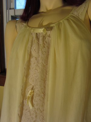 Vintage MOD 60s Yellow Double Nylon Frilly Lace & Bowties Mini Babydoll Nightgown Avian M.